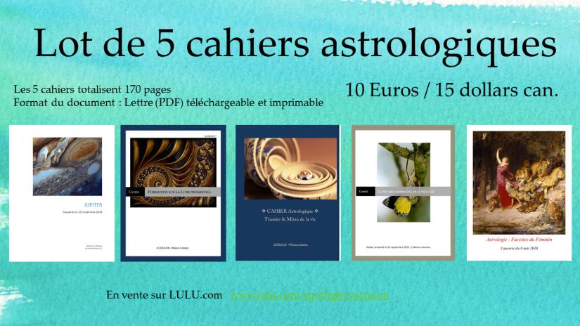 Lot de 5 cahiers astrologiques